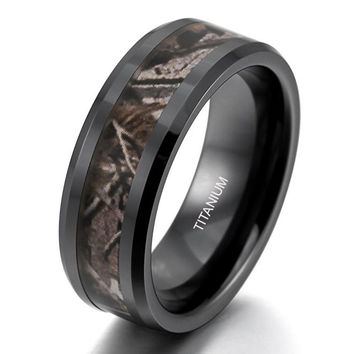 8MM Titanium Hunting Ring Wedding Band Black Plated Camo Camouflage Inlay | FREE ENGRAVING