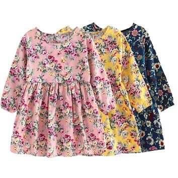 2018 Spring Summer Girls Dress Flowers Kids Clothes Long Sleeve Party Dresses For Girls European Style Floral Princess Dress