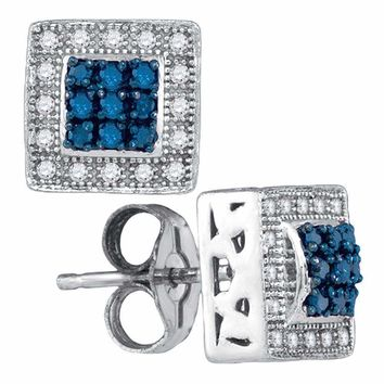10kt White Gold Women's Round Blue Color Enhanced Diamond Square Frame Cluster Stud Earrings 1-5 Cttw - FREE Shipping (US/CAN)