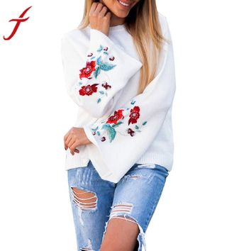 Feitong Embroidery Winter Autumn Blouse Women Flare