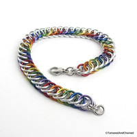 Gay pride bracelet, rainbow half Persian 4 in 1 chainmaille