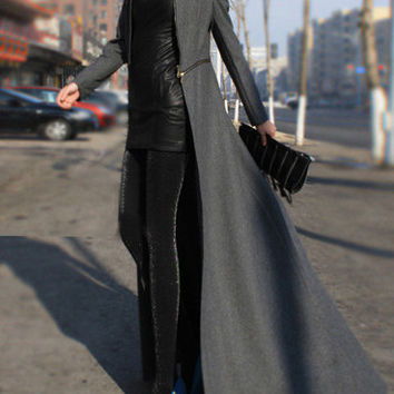 Grey Long Sleeve Slit Maxi Coat