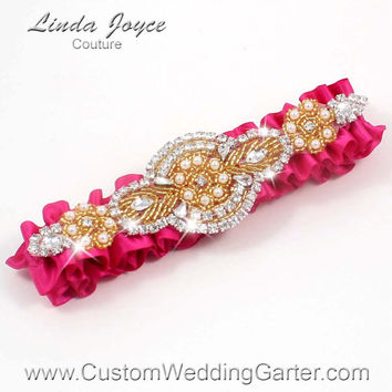 Hot Pink and Gold Vintage Wedding Garter Bridal Rhinestone 187 Azalea Custom Luxury Prom Garter Plus Size & Queen Size Available