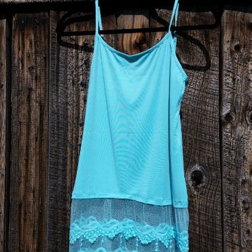 The Lace Effect Top Extender. Blue Lace Shirt Length Extender