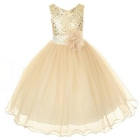Kids Dream Gold Sequin Double Mesh Flower Girl Dress Girls 2T-14