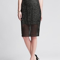 Banana Republic Womens Coated Lace Pencil Skirt