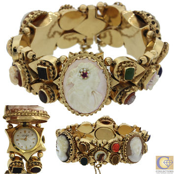 Vintage Estate 14k Solid Yellow Gold 28mm Mixed Gemstones Watch Slide Bracelet