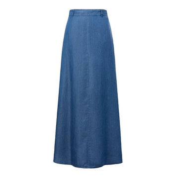 saia longa Women Skirt Solid High Waist Solid Women's Long Skirt Jean Blue Back Pocket Decorated Maxi Skirt Free Shipping