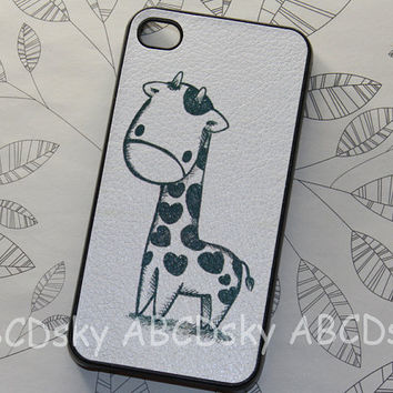 Cute Giraffe  pu Leather paste case iphone 4 hard case by ABCDsky
