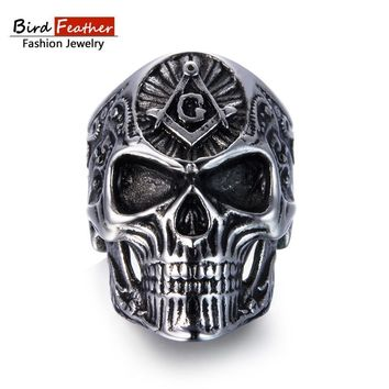 Bird Feather Stainless Steel Men Ring Masonic Skull Titanium Rings for Vintage Punk Fashion Jewelry