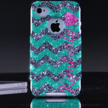 Otterbox iPhone 4 / 4S Case  - Personalized Glitter Wintermint/Smoke/Raspberry Heart Small Chevron Custom Otterbox Case iPhone 4 4S