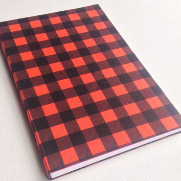 Plaid Tartan black and red pattern 160 page blank cloth journal 5.5X8.5