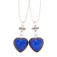 Best Friends Glitter Mood Heart Pendant Necklaces