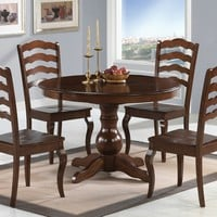 5 pc Davis collection espresso finish wood round dining table set with wood seats and ladder back design