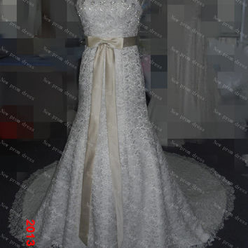 2014 Shining wedding dress Ivory lace with sashes lace up back cheapest and best choice