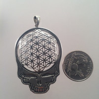 Grateful Dead ~ Sterling Silver Flower of Life Steal Your Face Pendant - Extra Large - Sacred Geometry