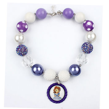 5pcs Princess Sofia Inspired Chunky Bubblegum Necklace, Sofia The First Chunky Necklace, Lavender/Purple Amulet Necklace