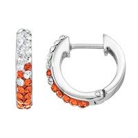 Oregon State Beavers Crystal Sterling Silver Huggie Hoop Earrings (Orange)