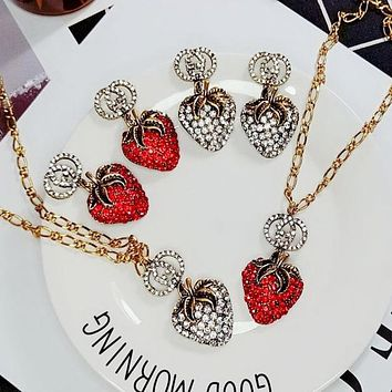 GUCCI Newest Fashion Women Retro Chic Strawberry Earrings Necklace Ring Jewelry