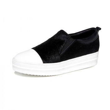 Cowhide Leather Flats With Horse Hair Round Toe White Cap Lazy Shoes Black Loafers Spring Autumn Flat Shoes Women