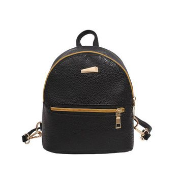 Student Backpack Children Girl New Backpack PU Leather 2018 Solid Soft Handle Students Backpack Small and Delicate Bags For Young Women AT_49_3