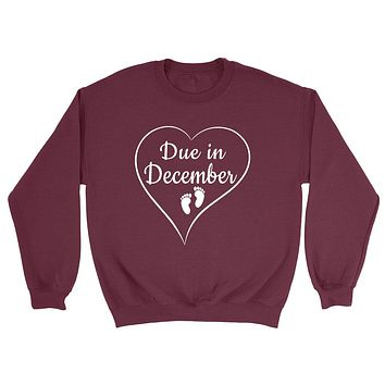 Due in December pregnancy announcement baby reveal baby shower Mother's day gift Crewneck Sweatshirt