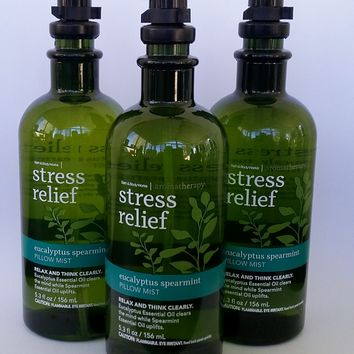 3 PACK Bath & Body Works AROMATHERAPY Stress Relief EUCALYPTUS SPEARMINT Pillow Mist 5.3 oz