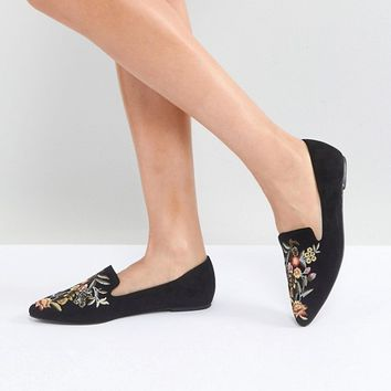 ASOS MISO Embroidered Slipper Flat Shoes at asos.com