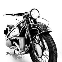 Classic Bike Fine art print, Black white abstract print, 1966 R60/2 BMW Motorcycle art, 8 x 12''