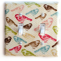 Multi Color Birds Double Toggle Switchplate Switch Plate