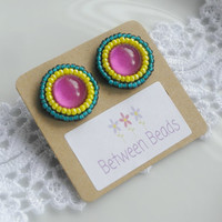 Rainbow Earrings, Pink Stud Earrings, Summer Accessories, Vintage Earrings, Pink Yellow and Green, Hippy Jewelry, Groovy Earrings, Boho