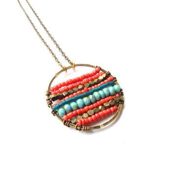Beadwork Necklace, Beaded Medallion, Brass Pendant, Coral Red and Turquoise, Colorful Necklace, Boho Jewelry, Gypsy Necklace