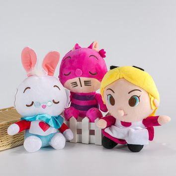 Cool New Alice In Wonderland Anime The Red Queen Cheshire Cat White Rabbit Alice Q Stuff Plush Toy Doll Birthday Gift CollectionAT_93_12