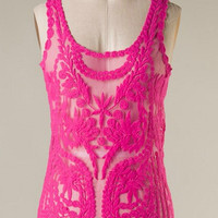 Lace Tank Top - Hot Pink