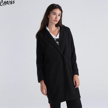 Women Black Tweed Long Trench Coat Classic Single Button Lapel Loose Casual Parka Overcoat Autumn Winter