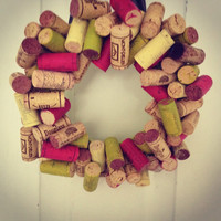 Colored Wine Cork Wreath for any door Real Wine by MadeByMarcy