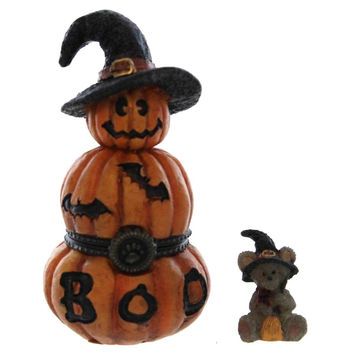 Boyds Bears Resin Tabitha's Jack-O-Lantern With Zelda Mcnibble Treasure Box