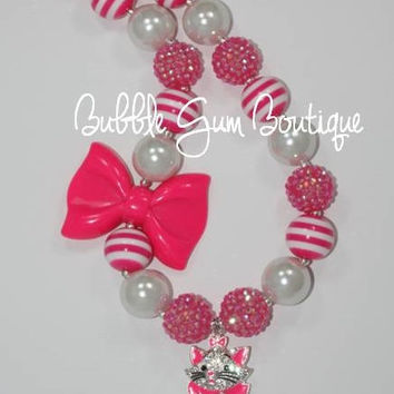 Marie Cat Pendant Necklace with Bow