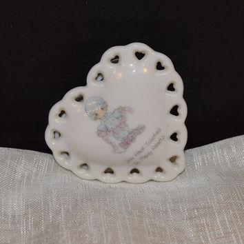 """Precious Moments Heart Trinket Box Vintage Heart Shaped Ring Box """"You Have Touched So Many Hearts"""" Precious Moments Miniature Collectible"""