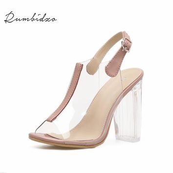 Rumbidzo Women Pumps 2018 Fashion Woman High Heels Shoes Peep Toe Ankle Strap Buckle up Transparent Heels Clear Heel PVC Shoes