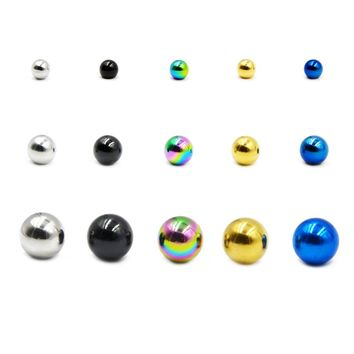 Showlove-10PCS Stainless Steel Round Ball Replacement Bead Lip Eyebrow Tongue Earring Belly Body Piercing Jewelry 14g/16g