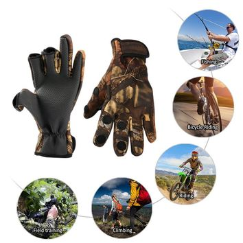 Fishing Cold Resistant Gloves Turn-Over Three Fingerless Gloves Wearable Breathable Non-Slip Waterproof Gear Hunting Gloves