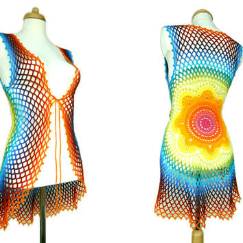 Rainbow Crochet Mandala Vest - Floral Sweater - Eco Friendly - Recycled Cotton - Hippie Clothing