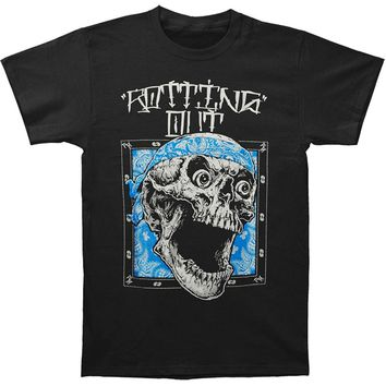 Men Brand Clothihng Top Quality Fashion Mens T Shirt 100%cotton Rotting Out Men's Skull Bandana T-shirt Black