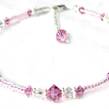 Handmade Sterling Silver Crystal Beaded Ankle Bracelet  -  Birthmonth  Pink Tourmaline October