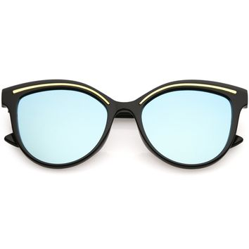 Modern Cat Eye Sunglasses Metal Brow Detail Round Colored Mirror Flat Lens 53mm