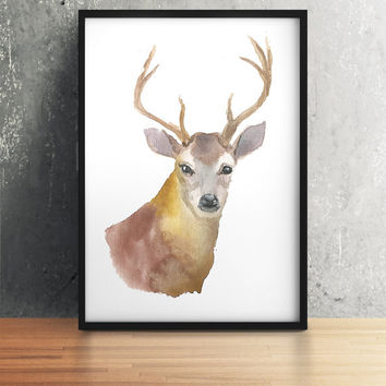Animal art Watercolor deer print Nursery decor ACW12