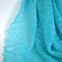 Turquoise Linen Scarf / Shawl / Wrap / Stole by BVLifeStyle