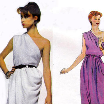 Rare One Shoulder Givenchy Dress 70s Vogue Paris Original Sewing Pattern 2307 Size 12 Bust 34 UNCUT FF