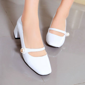 Size 34-39 Sweet Square Toe Mary Janes Woman Shoes Patent Leather Thick Heel Woman Pumps Spring Ladies Wedding Shoes White
